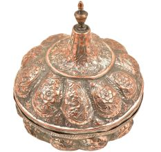 Copper Candy Bowl Repousse Flower and Vine Design  Dish�With  Dome Lid