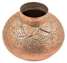 Hand Made Copper Embossed Floral Design Water Pot Or Floral Vase