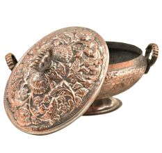 Engraved Kashmiri Copper Rice Bowl With Lid And Handles