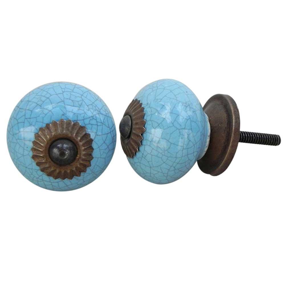 Sky Blue Crackle Ceramic Cabinet Knob