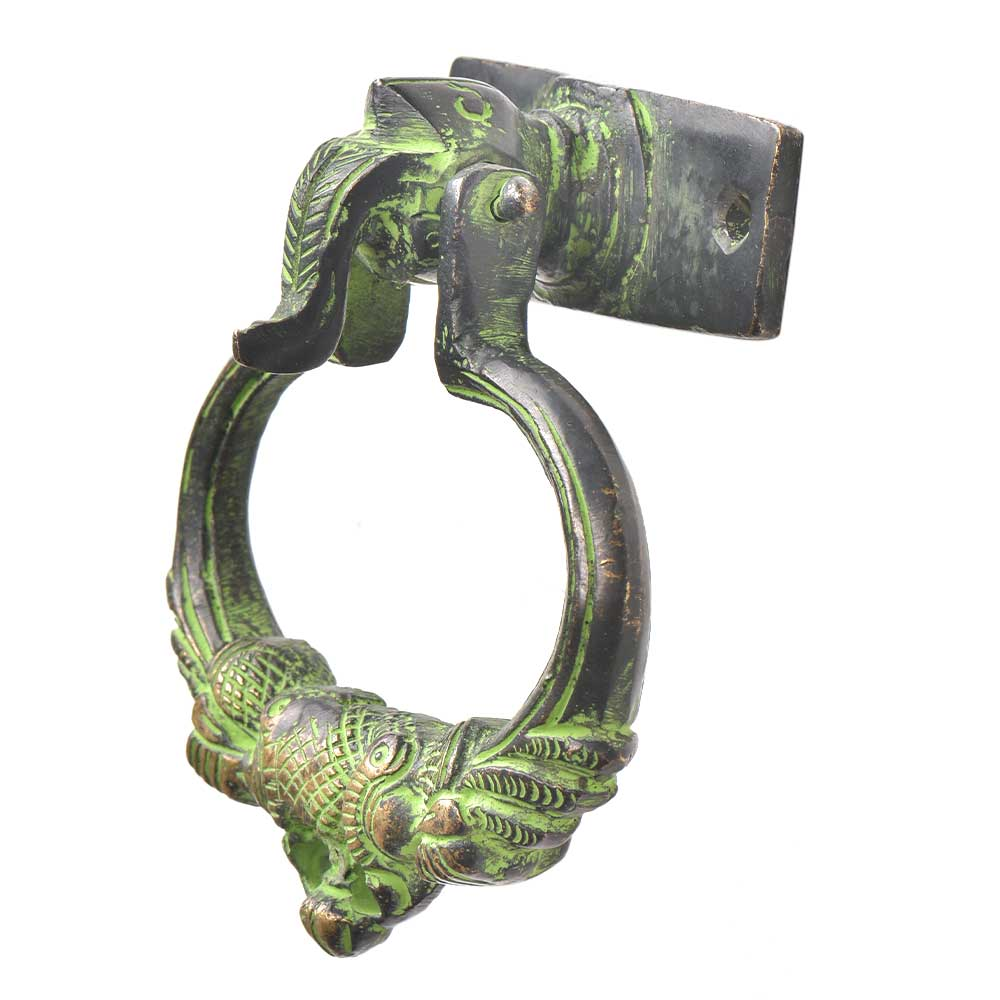 Brass Green Patina Elephant Trunk Up Peacock Door Knocker