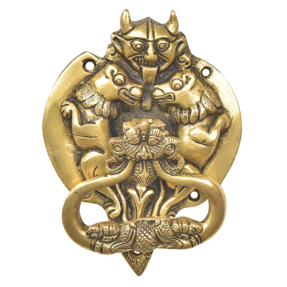 Handcrafted  Brass Demon Two Lions Dragon Head Door Knocker