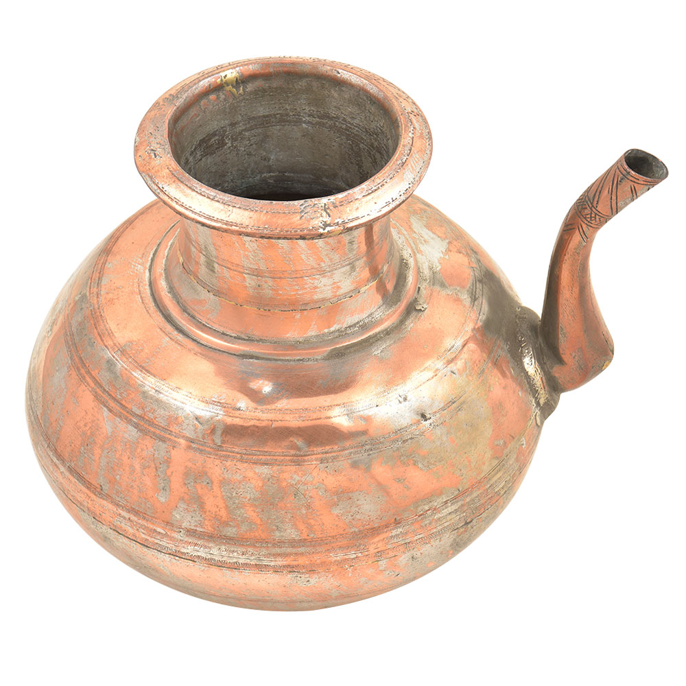 Old Copper Handcrafted Solid Holy Water Pot�With A Stout