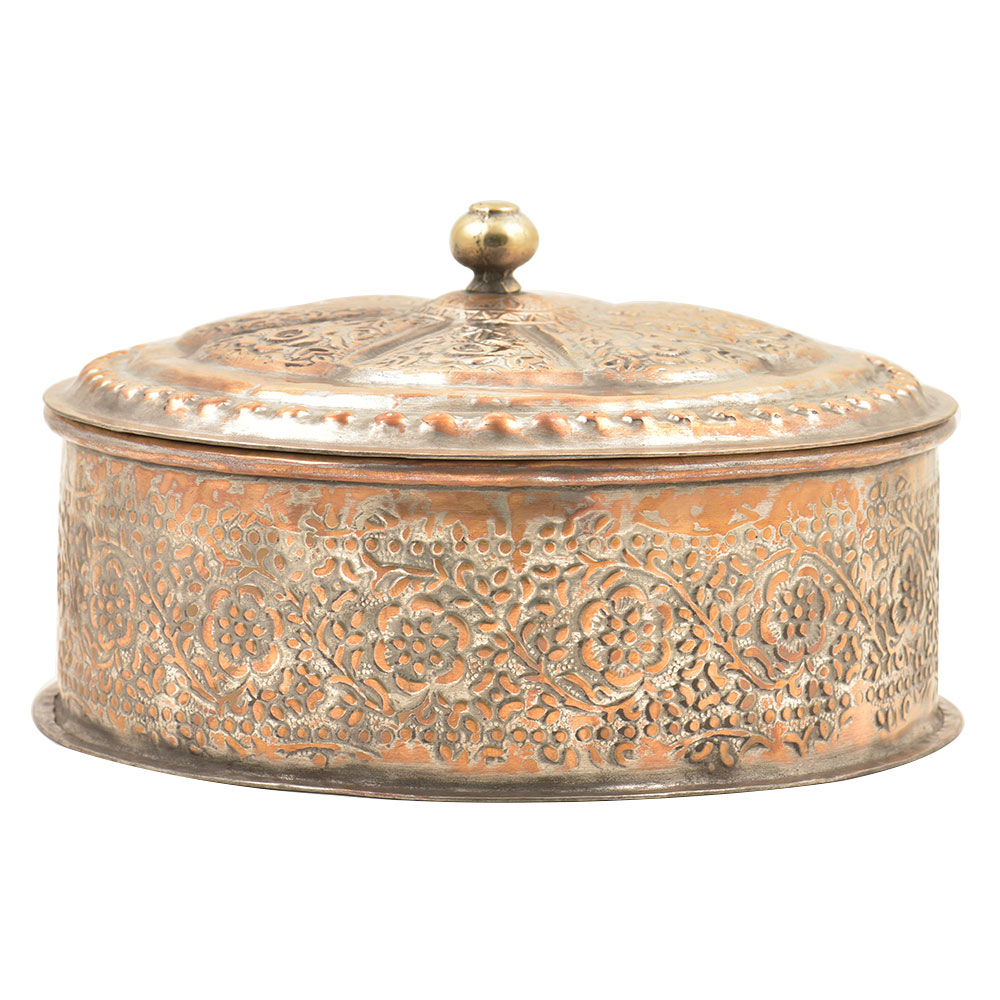Round Copper Repousse Floral Trinket Box With Metal Knob Finial