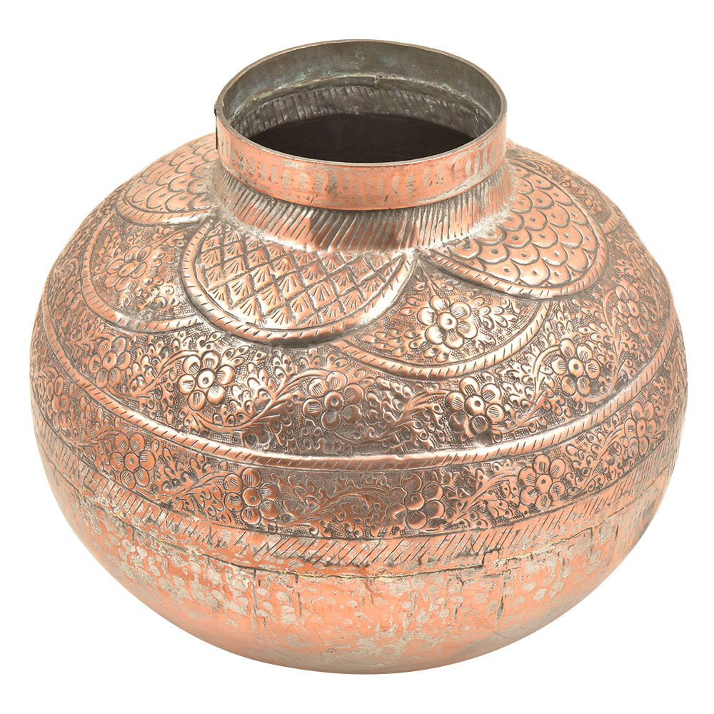 Copper Repousse Hand Hammered Floral Vase Or Water Pot