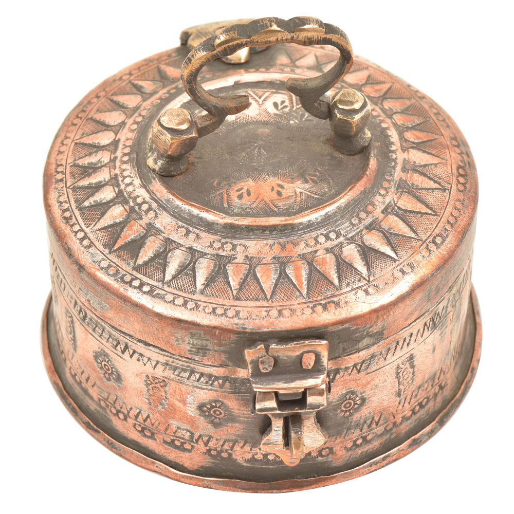 Copper Floral Repousse Handmade Storage Box With Latch And Handle
