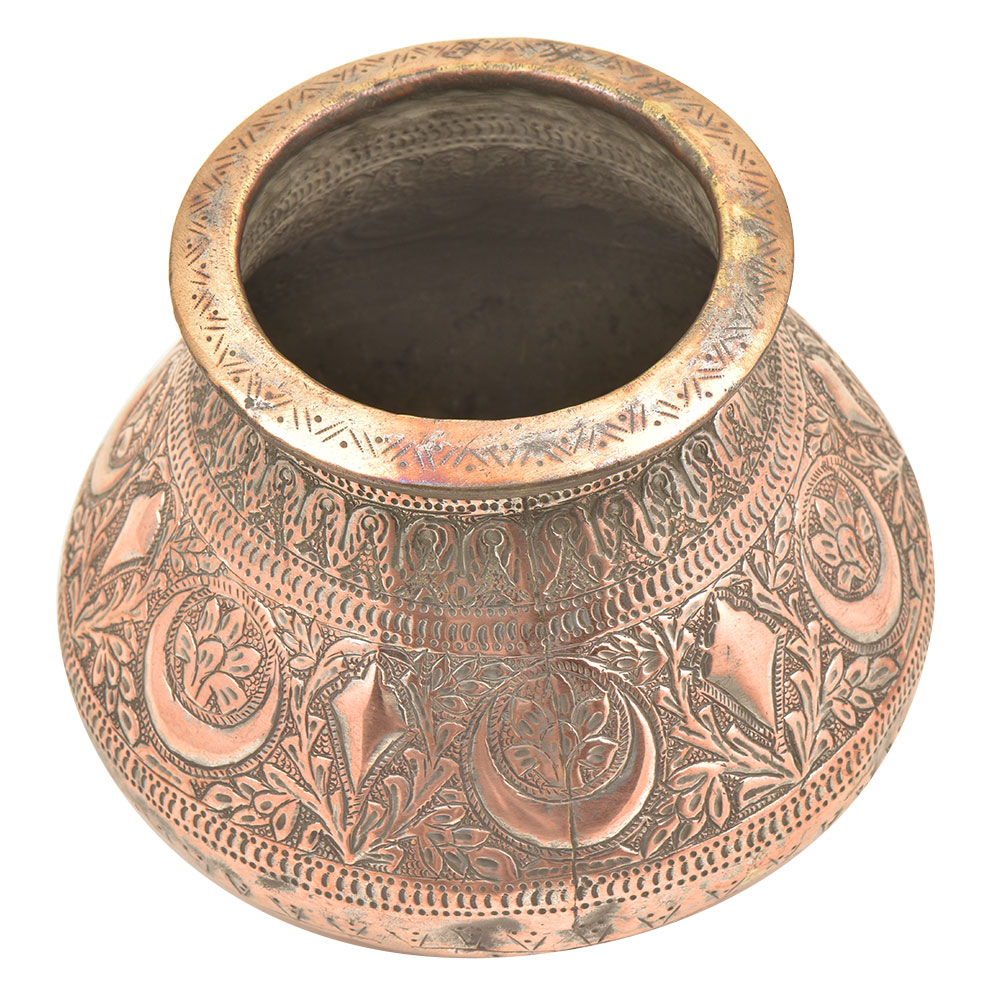Handmade Repousse Floral Copper Holy Water Pot Or Lotta