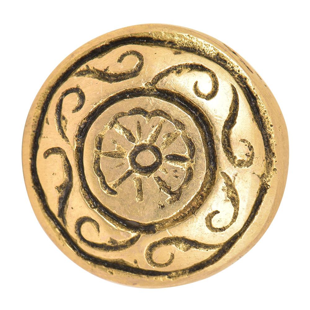 Engraved Floral Round Brass Knob