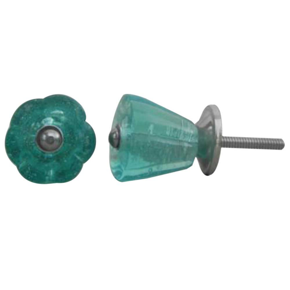 Turquoise Tulip Glass Knob