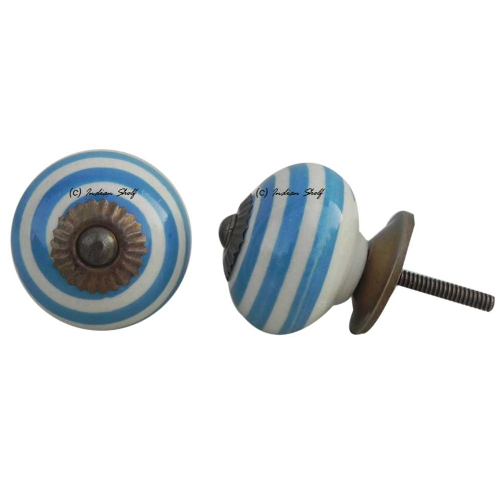 Old Turquoise Striped Knob