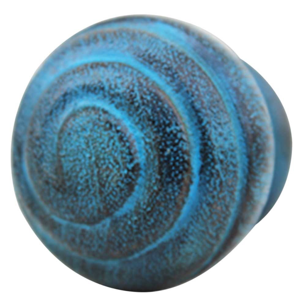 Turquoise Spiral Wooden Knob