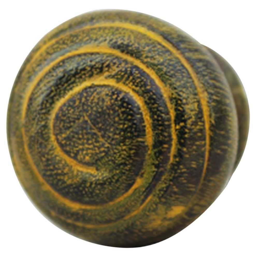 Yellow Spiral Wooden Knob