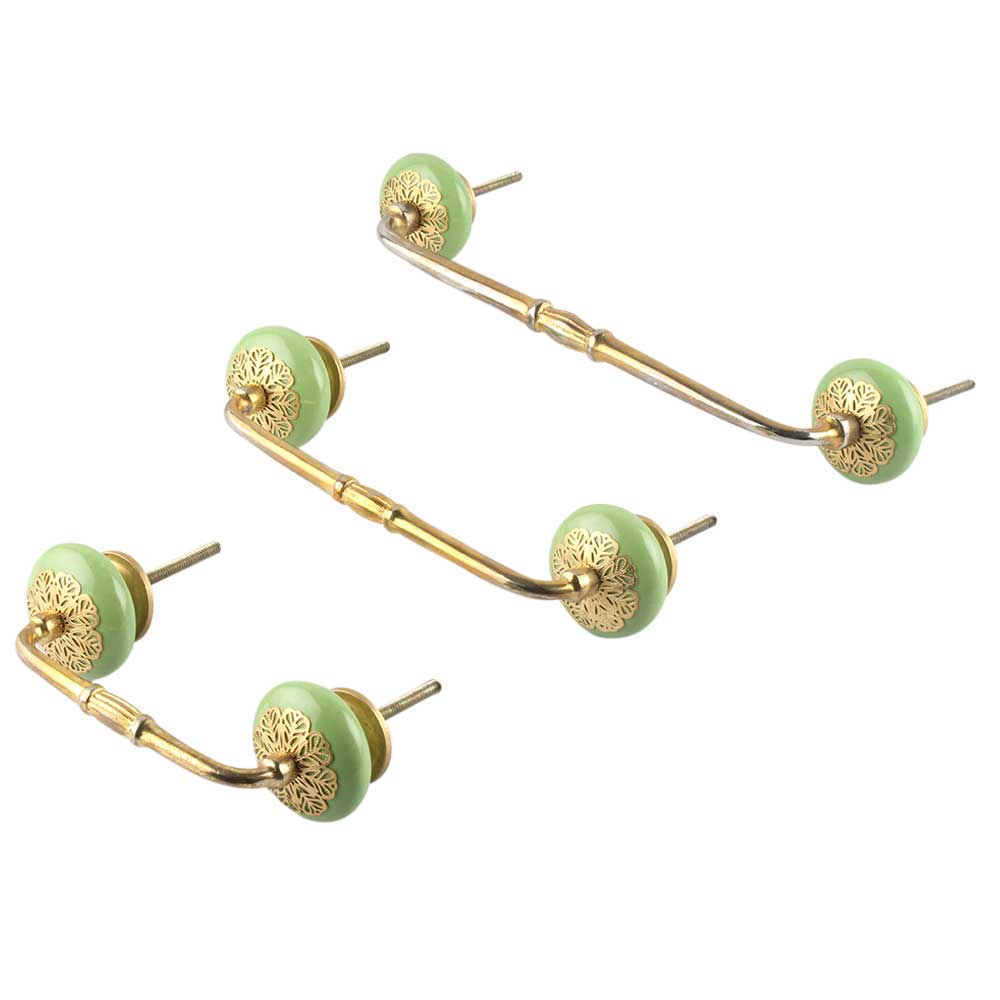 Pea Green Strewn Flat Ceramic Bridge Handle