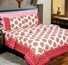 Pink Floral Cotton Bedsheet With Two Pillow Covers