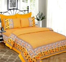 Yellow Base Lemon Colorful Hearts Border Printed Double Bedsheet with Two Pillow Cover