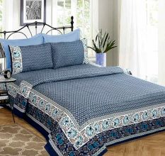 Printed Floral Indigo Blue With Additional Floral Border Bedsheet With Two Pillow Cover