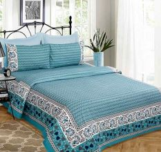 Printed Floral Light Blue With Additional Floral Border Bedsheet With Two Pillow Cover