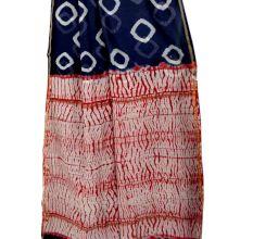 Dark Blue Geometric Pattern Batik Print Saree With Blouse