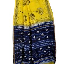 Yellow Blue Batik Print Pallu Saree With Blouse