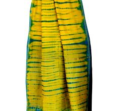 Yellow Blue Batik Border Pallu Saree With Blouse