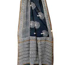 Black Tree Pattern Gometrical Print Border Chandri Silk Saree And Blouse