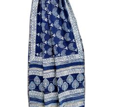 Indigo Blue White Leaves Chanderi Silk Saree And Blouse