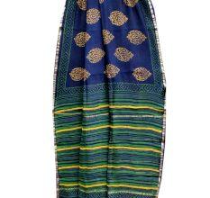 Dark Blue Stripes Border Chanderi Silk Saree With Blouse