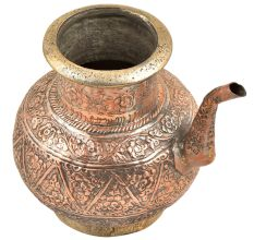 Floral Design Engraved Copper Water Pot With Spout