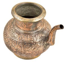 Engraved Floral Pattern Copper Water Pot With A Spout