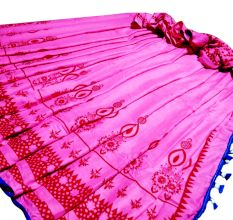 Pink Block Printed Border Inn Red Cotton Saree With Blue Pom Pom And Blouse