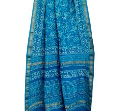 Blue Chanderi Block Print Saree With Small Leaf Motifs With Golden Border And Blouse Piece