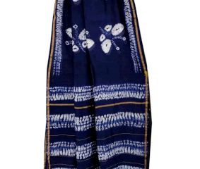 Blue Batik Print Chanderi Silk Sarees And Blouse Piece