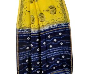 Yellow Blue Batik Print Pallu Saree With Blouse