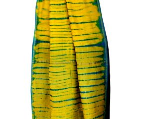 Yellow Blue Batik Border Pallu Saree With Blouse