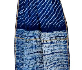 Indigo Dabu Printed Chander Silk Saree With Blouse