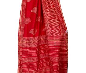 Deep Red With White Leaf Chanderi Sillk Saree With Blouse