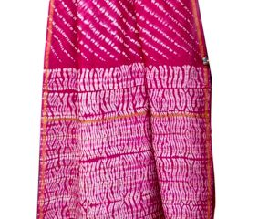 Deep Pink Chanderi Silk  With White Pattern Printed Border