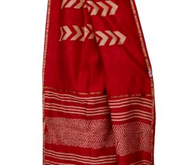 Deep Red White Pattern Chanderi Silk Saree With Blouse