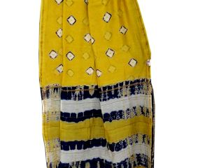 Yellow Batik Print Border Chanderi Silk Saree With Blouse