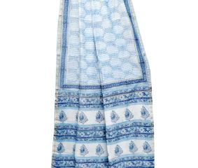 Sky Blue Delilcate Print Chanderi Silk Saree With Blouse