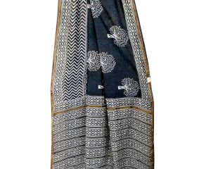 Black Tree Pattern Gometrical Print Border Chandri Silk Saree And Blouse