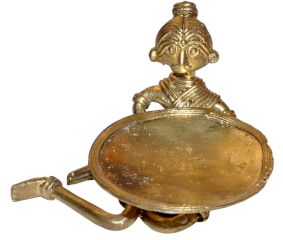 Dhokra Sitting Tribal Lady Candle Stand