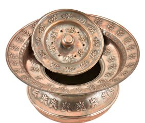 Copper Floral Home D�cor Spitoon Bowl With Lid