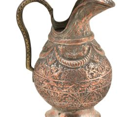 Copper Vintage Floral Engraved Jug