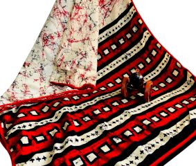 Batik Printed Cotton Saree With Red And Black Geometric Print boder