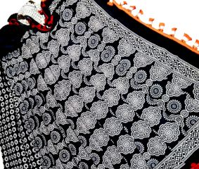 Black and White Floral Block Printed Cotton Saree With Blouse Piece