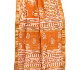 Orange Chanderi Block Print Saree With Golden Border And Bouse Piece