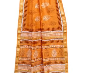 Orange Chanderi Block Print Saree With Leaf Motif With Golden Border And Bouse Piece