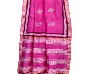Pink Chanderi Block Print Saree With Leaf Motif With Golden Border And Bouse Piece