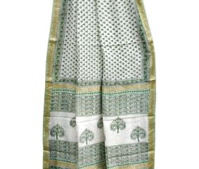 Green Chanderi Block Print Saree With Small Leaf Motifs With Golden Border And Blouse Piece